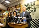 San Francisco District Attorney George Gascon, calling for wider use of chip-and-PIN technology at a local book store.