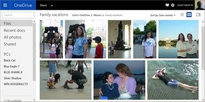 A photo album being generated within Microsoft OneDrive's new Albums feature.