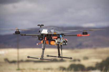 A drone deployed by Carnegie Mellon University as part of the university's research into wireless signal strength