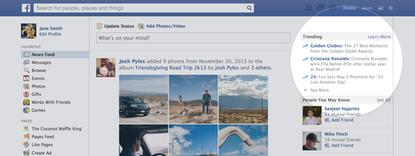 Facebook's new trending section is meant to surface popular topics on the site.