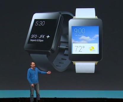 LG G smartwatch screen capture from Google I/O