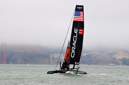 Oracle Team USA's catamaran on the San Francisco Bay