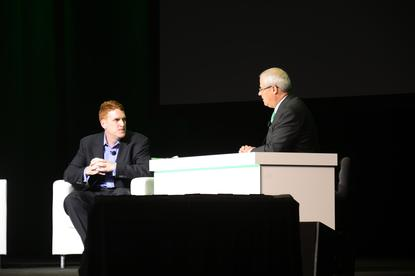 Veeam North American channel chief, Chris Moore (left), on stage at VeeamOn in Las Vegas