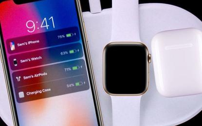 A mock-up of Apple's AirPower wireless device charger