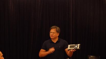 Nvidia's Jen-Hsun Huang showing GeForce GTX980 Ti at Computex in Taipei
