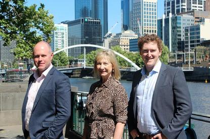 (L-R) Trimantium Growthops CEO Paul Mansfield with chairman Dominique Fisher and managing director Phillip Kingston.