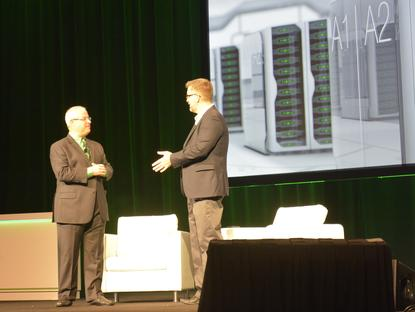 Veeam product strategy vice-president, Doug Hazelman (right), on stage at VeeamOn in Las Vegas