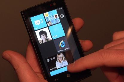 A Windows Phone 7 Series handset being demonstrated at Mobile World Congress in Barcelona.