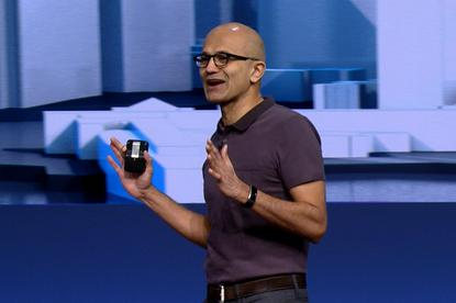 Satya Nadella, CEO of Microsoft, speaking at the Build conference in San Francisco on March 30, 2016. Credit: Microsoft/IDGNS