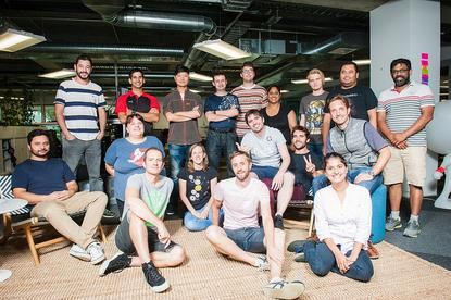 The Promapp tech team. VP of technology Gareth Maria seated on the floor at left.