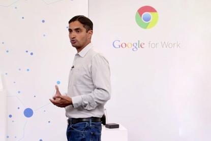 Google's Rajen Sheth at the Chrome for Work event Wednesday