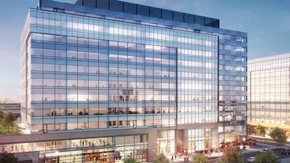 A concept artist's rendering of the Global Innovation Exchange building