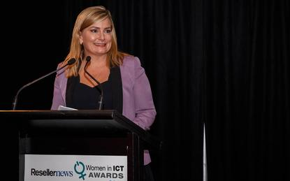 Vanessa Sorenson taking home the Entrepreneur Award at the 2017 Reseller News Women in ICT Awards