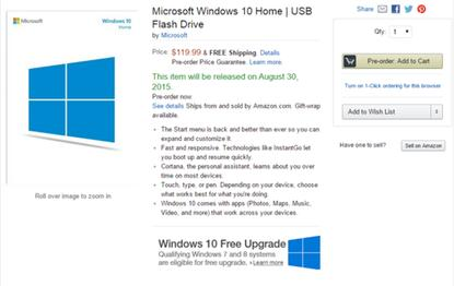 Amazon is selling pre-orders for Windows 10 on a USB stick.