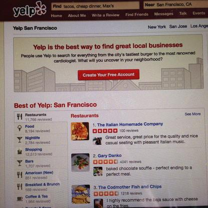 Yelp's landing page on the desktop.