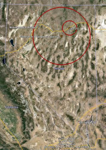 The state of Nevada with Google's Loon testing area within the larger circle. Winnemucca airport is shown in the northwest corner as is an area around an LTE base station in Elko where testing cannot take place