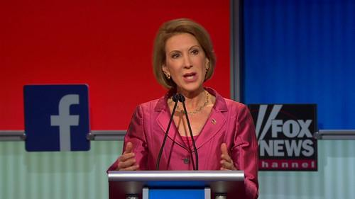Carly Fiorina speaks during a Fox News Channel televised debate in Cleveland, Ohio, on August 6, 2015.