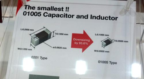 A tiny capacitor produced by Taiyo Yuden on show at Ceatec Japan 2014 in Makuhari, Japan, on October 7, 2014
