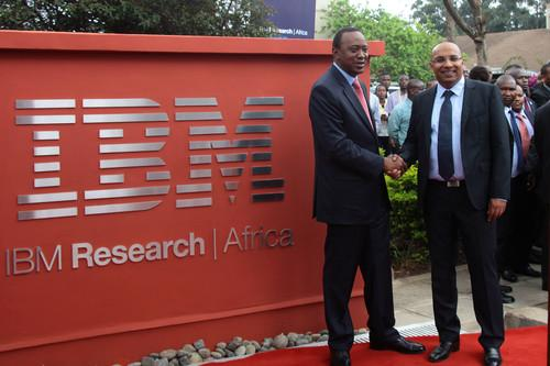 H.E. the President of Kenya, Hon. Uhuru Kenyatta (left) and Dr. Kamal Bhattacharya, Director IBM Research - Africa (right) at the opening of IBM's First Africa Research Laboratory, November 8, 2013.