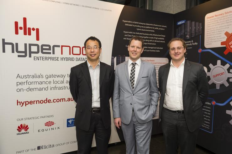 Daniel Lin (Huawei), Damien Stephens (iCITA), and Jeremy Deutsch (Equinix) at Hypernode's launch in August.