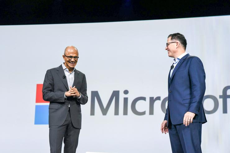 Satya Nadella - CEO, Microsoft on stage with Michael Dell - CEO, Dell at Dell World 2015