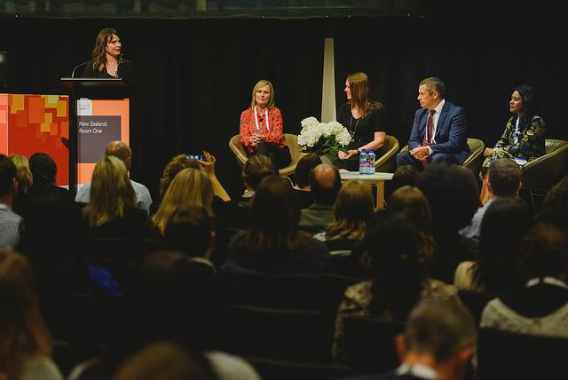 Kaye Harding of Datacom with the panelists: Donna Wright, Business Planning Director – Microsoft; Sonia Cuff, Technology Consultant; Damian Sharkey, Workstream Director - Westpac NZ; and Nuwanthi Samarakone, CEO - ICE Professionals.