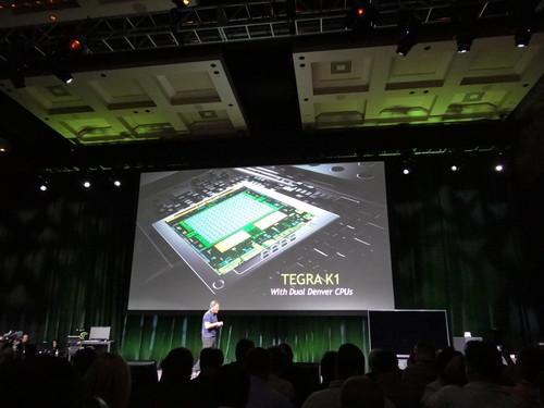 Nvidia CEO Jen-Hsun Huang unveils the Tegra K1 at CES Sunday evening