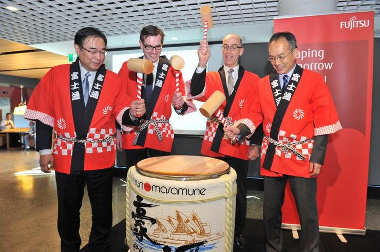 From left: Masami Fujita, global corporate head of Fujitsu; Hon. Dominic Perrottet, MP, NSW Minister for Finance and Services; Mike Foster, CEO of Fujitsu A/NZ; Masato Takaoka, Consul General of Japan - Sydney