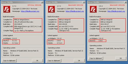 FileZilla is warning that versions of its open-source application have been modified by hackers to steal login credentials.
