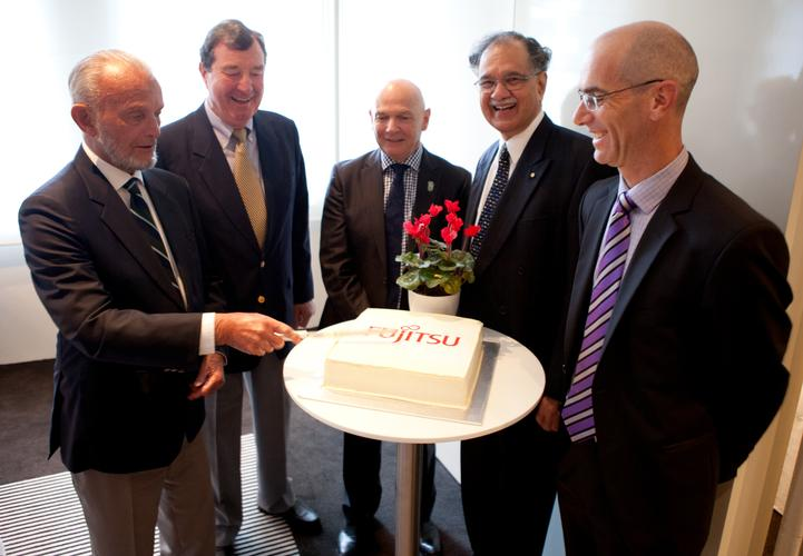 From left: First Fuitsu CEO Mike Rydon, second CEO George Ranucci, fifth CEO Rod Vawdrey, third CEO Neville Roach and current CEO Mike Foster.