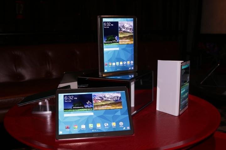 The Samsung Galaxy Tab S tablets on display at the Australian launch. The bottom-left is 10.5 inches in size, while the other two are 8.4-inch units.