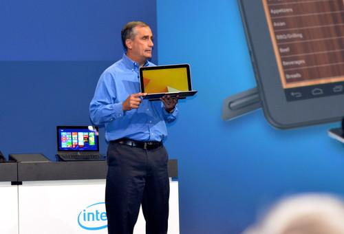 Intel CEO Brian Krzanich shows a fanless laptop based on a 22-nanometer Intel processor at IDF 2013