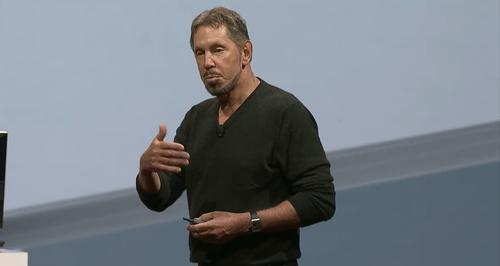 Oracle CTO Larry Ellison speaks at the OpenWorld conference in San Francisco on Sept. 30.