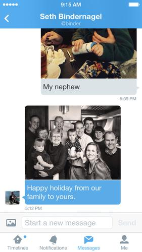 Twitter's direct messaging tool, as pictured on Dec. 10, 2013, now supports photos on mobile.