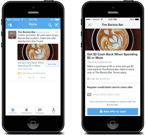 Twitter Offers lets users earn discounts that are redeemed when they make purchases in physical stores.