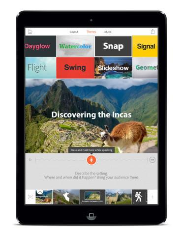 Adobe Voice is a free iPad app designed to make voice-based animated videos in minutes.