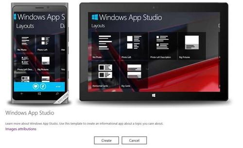 Microsoft's Windows App Studio lets users create apps for tablets and smartphones without having to write any code.
