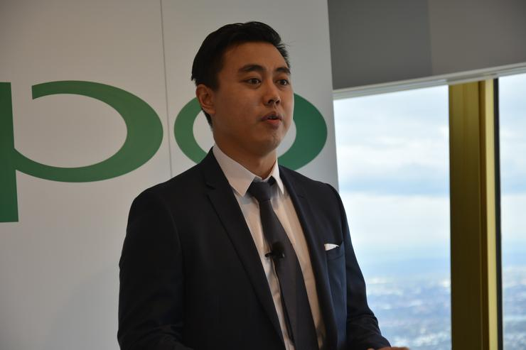 Oppo head of marketing, Michael Tran, speaking at the company's Australian launch.