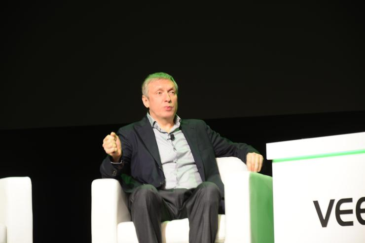 Veeam president and CEO, Ratmir Timashev (left), on stage at VeeamOn in Las Vegas  Veeam North American channel chief, Chris Moore (left), on stage at VeeamOn in Las