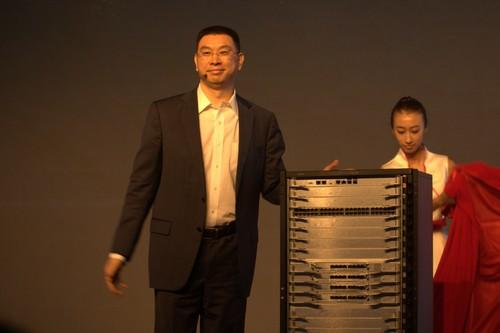 Huawei executive William Xu unveiling the company's new switch product