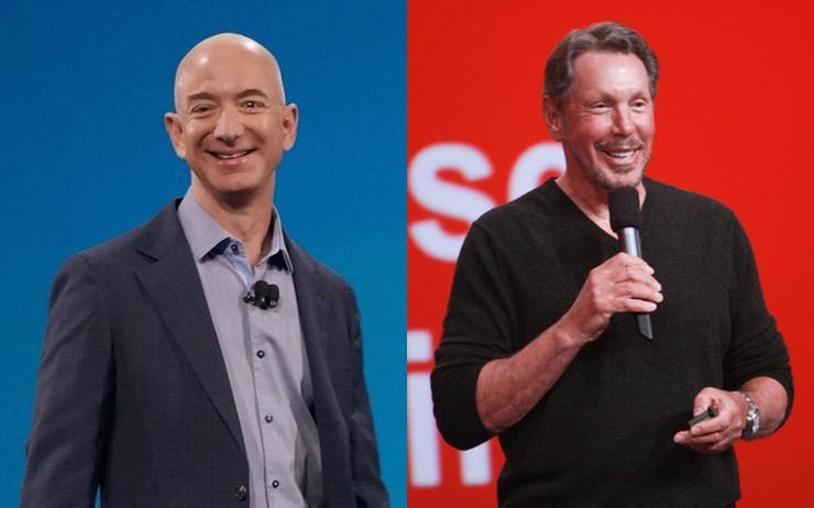 Jeff Bezos (Amazon) and Larry Ellison (Oracle)