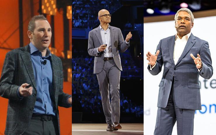 Andy Jassy (AWS); Satya Nadella (Microsoft) and Thomas Kurian (Google Cloud)