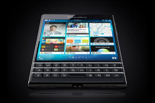 The BlackBerry Passport is a smartphone with a square-shaped screen and physical keyboard.