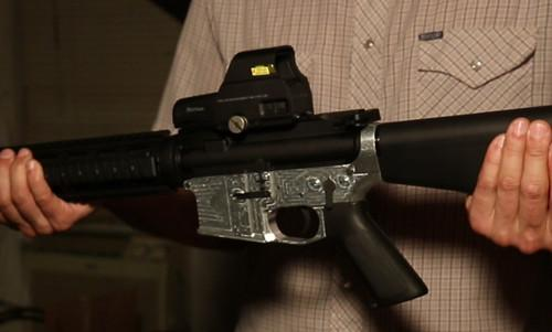 What the milled lower receiver looks like on an assembled AR-15 rifle.