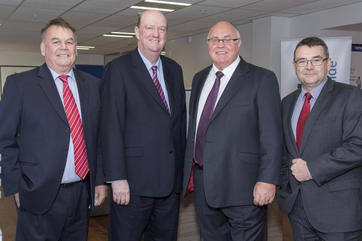 L-R: Peter Townsend, CEO Canterbury Employers Chamber of Commerce; Phil O'Reilly, director Iron Duke; Graham Walshe, executive chairman Brother and John Molyneux, South Island regional manager Brother