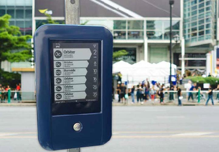 Connectionz makes and deploys intelligent transport systems including this real time busfinder device.
