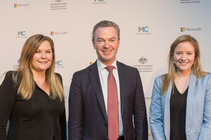Microsoft MD, Pip Marlow; Minister for Industry, Innovation and Science, Christopher Pyne; MassChallenge senior director for global partnerships, Kara Shurmantine. Photo courtesy of Microsoft