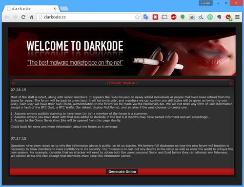 Message posted on the Darkode.cc website about resurrecting the forum