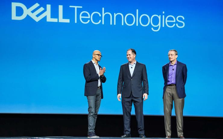 Satya Nadella (Microsoft); Michael Dell (Dell Technologies) and Pat Gelsinger (VMware)