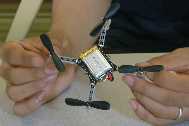 A small drone prototype being used by researchers at Carnegie Mellon University in Silicon Valley. Credit: Martyn Williams/IDG News Service